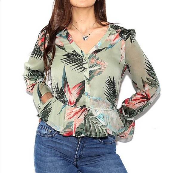 Guess Montara Floral Ruffle Blouse XLarge